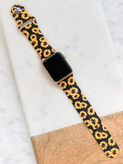 Black Sunflower Silicone Watch Band - M/L