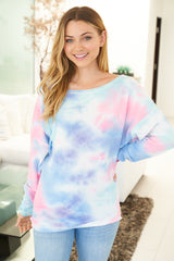 Cotton Candy Waffle Knit Long Sleeve