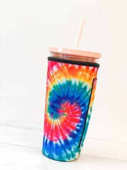 Insulated Cold Cup Sleeve with Handle - Tie Dye