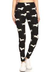 High Waisted Printed Yoga Leggings - Dachshunds