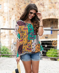 Patchwork Print Tassel Tunic (Ships in 1-2 Weeks)