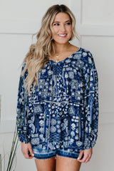 The Perfect Picnic Top in Navy - 3/4