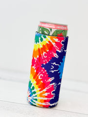 Bright Tie Dye Printed Slim Can Drink Hugger
