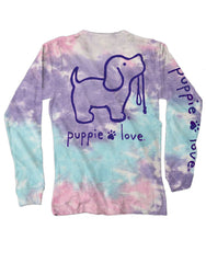 Cotton Candy Tie Dye Pup Long Sleeve Tee by Puppie Love
