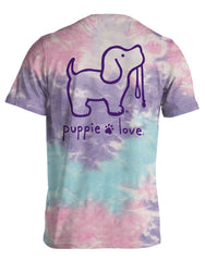Cotton Candy Tie Dye Pup Short Sleeve Tee by Puppie Love