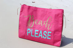 Beach please jute tote bag by The Royal Standard