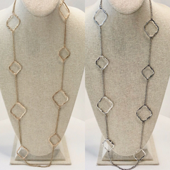 Linda Quatrefoil Station Necklace - 2 Colors Available