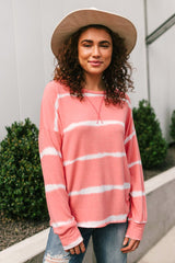 Wave of Stripes Top in Coral