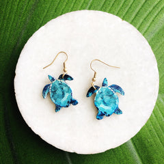 Blue Turtle Dangle Earrings