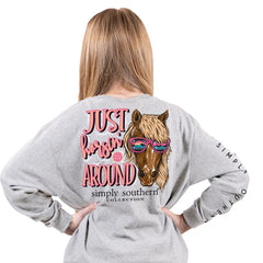 Youth 'Just Horsin' Around' Long Sleeve Tee by Simply Southern