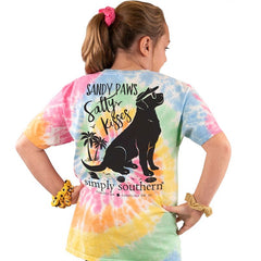 Youth 'Sandy Paws Salty Kisses' Tie Dye Short Sleeve Tee by Simply Southern