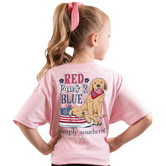 Youth 'Red, Paws & Blue' Puppy Short Sleeve Tee by Simply Southern