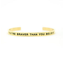 'You're Braver Then You Believe' Cuff Bracelet by Lillian & Co.