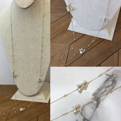 Ariella Pearl Cluster Station Necklace