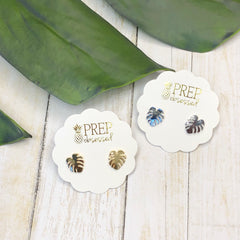 Dainty Palm Leaf Studs - 2 Colors Available