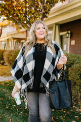 Blank Check Plaid Poncho (Ships in 1-2 Weeks) - 11/24