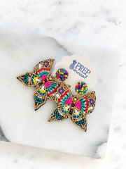 Butterfly Seed Bead Statement Earrings - Multi