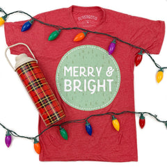 'Merry & Bright' V-Neck Short Sleeve Graphic Tee
