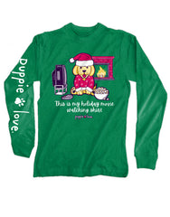 'Holiday Movie Watching Pup' Long Sleeve Tee by Puppie Love