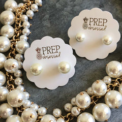 Classic Cream Pearl Stud Earrings by Prep Obsessed