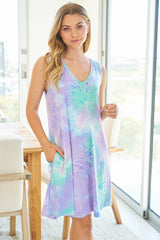 Brit Sleeveless Aqua Tie Dye Dress with Pockets