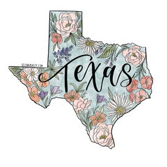 Texas Floral Vinyl Sticker