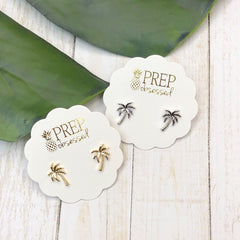 Dainty Tropical PALM TREE Studs - 2 Colors Available