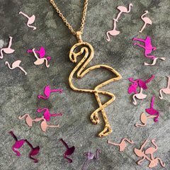 Metal Flamingo Pendant Long Necklace