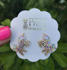 GOLD Magical Multi-Color Unicorn Dazzle Studs