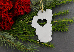 Custom Cut Region/Country Love Outline Ornament (Ships Within 3 Weeks)