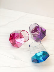 Diamond Shaped Stemless Glass - Choice of Color