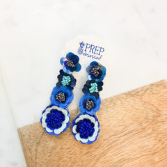 Mara Beaded Flower Dangles - Blue