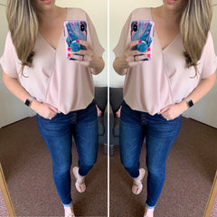 Tory Draped Layered Top - Blush