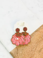 Paige Shell Sequin Dangles - Coral
