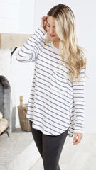 Billie Long Sleeve T-Shirt by Mud Pie - White Stripe