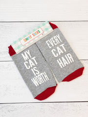 'My Cat Is Worth Every Cat Hair' Non-Slip Socks by Simply Southern