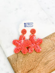 Lennox Starfish Sequin Dangles - Coral