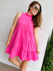 Nat Bow Tie Dress by Mud Pie - Pink