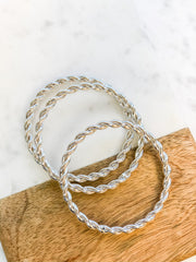Braided Bangle Set - Silver