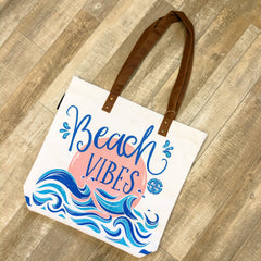 'Beach Vibes' Canvas Tote by Simply Southern