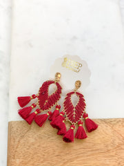 Lillie Leaf Tassel Statement Earrings