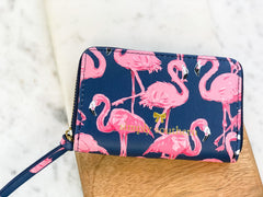 Printed Zip Wallet by Simply Southern - Flamingo