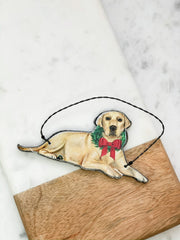 'Christmas Yellow Lab' Dog Ornament by PBK