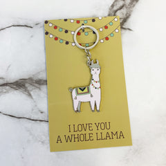 'I Love You a Whole Llama' Llama Keychain by PBK