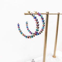Vicki Scalloped Heart Hoops - Multi