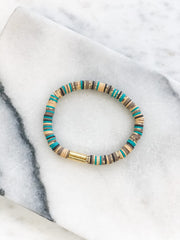 Gold Bar Flat Beaded Bracelets - Multi Teal