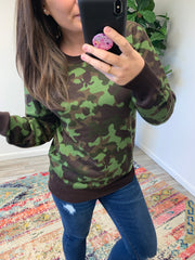 Green Camo Sweater by Simply Southern