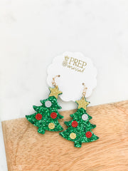 Christmas Tree Sparkle Dangle Earrings