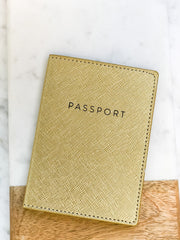 Metallic Gold Shimmer Passport Cover