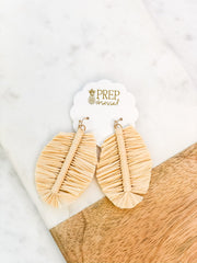 Aviana Raffia Leaf Dangle Earrings - Tan